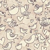 Romantic seamless pattern in cartoon style. Birds in love