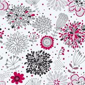 Floral seamless pattern in pink and gray colors