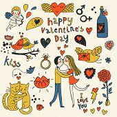 Valentine Vector doodles conjunto en color