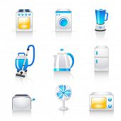 stock photo of kitchen appliance  - household appliances icons - JPG