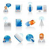 Kommunikation und Internet-Ikonen
