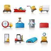 stock photo of barge  - logistic icons - JPG