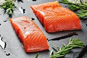 Salmon Fillet And Drops Of Olive Oil poster