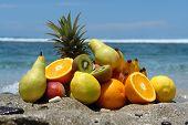 foto of healthy food  - fruits in bulk on bottom lagoonsymbol of healthy food - JPG