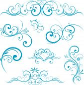Blue swirling flourishes floral elements