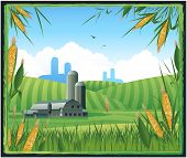 image of farm land  - Farm harvest background - JPG