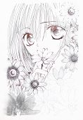 Drawing In The Style Of Anime. Picture Of A Girl In The Flowers In The Picture In The Style Of Japan poster