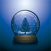 Blue snowdome with christmas tree within christmas background
