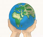 Hands Holding A Globe Over White