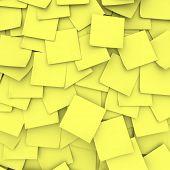 Muchas notas adhesivas amarillos forman un fondo