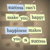 Pieces of paper each containing a word pinned to a cork board reading Success Can't Make You Happy,