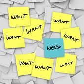 Many sticky notes with the word Want on them and one with the word Need