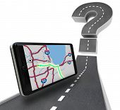 image of gps navigation  - A GPS navigation unit on a road leading to a question mark symbolizing finding a route - JPG
