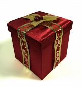 picture of christmas-present  - A Red Christmas box ready for opening  - JPG