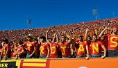 LOS ANGELES, NOVEMBER 1, 2007: USC Trojan Football Fans Celebrate after a touch down durring the ann