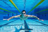 Swimmer Floating Underwater, Underwater View