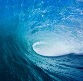 Perfect Blue Surfing Wave