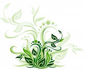 Green floral background vector illustration design for greeting cards