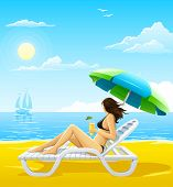 girl relaxing on the sea beach deck-chair - vector illustration