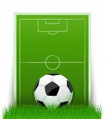soccer ball on the green field with grass - vector illustration