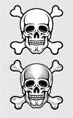 Caveira com os ossos do esqueleto piratic símbolo vector illustration