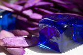 Blue Glass Cubic And Pink Bamboo