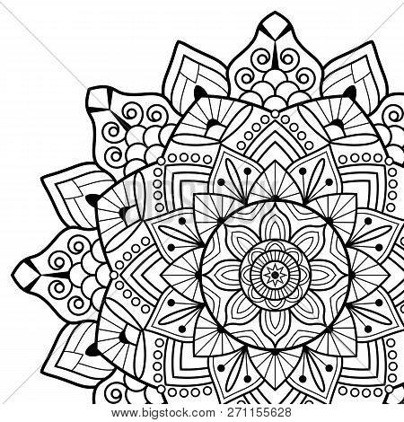 Coloring Book Pages Mandala Indian Antistress Medallion Poster