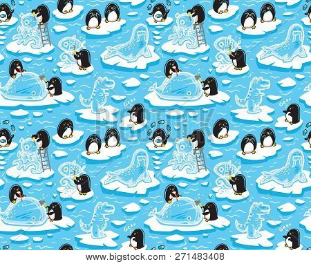 Seamless Pattern With Cartoon Penguins