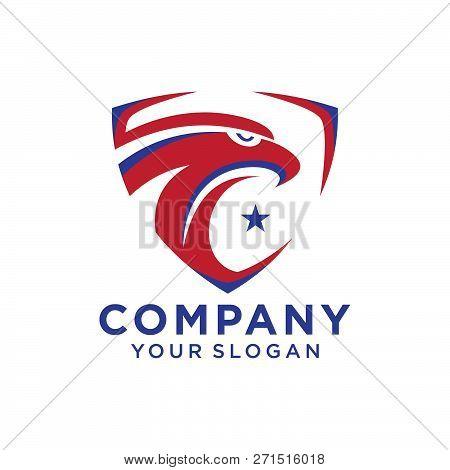 Eagle Head With Shield Logo Template, Hawk Mascot Graphic, Badge Eagle  Vector Logo, Eagle Technology poster