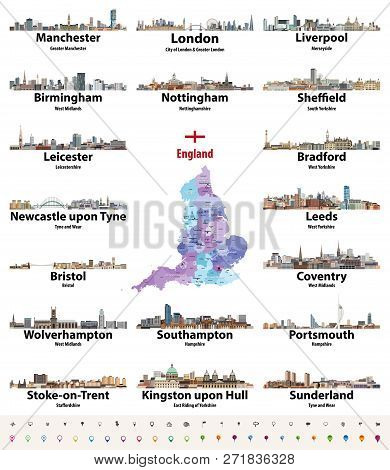 England Largest Cities Skylines Icons