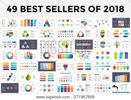 poster of Best Infographic Templates Of 2018. Presentation Slides Set. Circle Diagrams, Timelines, Light Bulb,