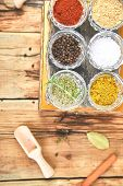 Flat Lay Of Seasoning Background. Spice And Herb Seasoning With Fresh And Dried poster