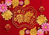 Happy Chinese New Year 2019 Of Pig Poster From Crafted Cutted Paper poster