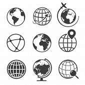 Globe And Earth Geography Graphic Icon Set poster