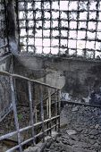 Burned Out building, stair.