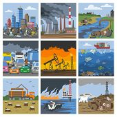 Pollution Environment Vector Polluted Air Smog Or Toxic Smoke Of Industrial City Illustration Citysc poster
