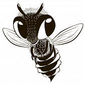 Happy Monochrome Bee. Cartoon Character Fling Monochrome Bee. poster