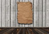 Empty wild west wanted poster on weathered plank wood wall poster