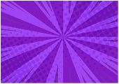 Abstract Purple Striped Retro Comic Background With Halftone Corners. Cartoon Deep Violet Background poster