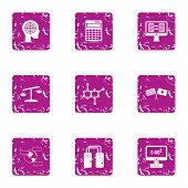 Scientific Case Icons Set. Grunge Set Of 9 Scientific Case Icons For Web Isolated On White Backgroun poster