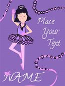 Young Girl As Ballet Dancer In Ballet Tutu Dancing. Illustration With Text Template And Decor. Vecto poster