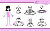 Little Ballet Dancer Girl. Dress Up Paper Doll In Cartoon Style With Ballet Tutus. Color, Cut And Pl poster