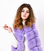 Violet Fur Vest Fashion Clothing. Luxury Fur Clothes For Female. Fashion Trend Concept. Winter Fashi poster