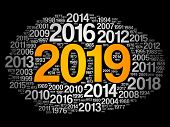 2019 Happy New Year And Previous Years Word Cloud Collage poster