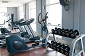 Room with gym equipment in the sport club