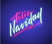 Feliz Navidad - Merry Christmas From Spanish, Neon Text Sign. Neon Glowing Signboard, Bright Luminou poster