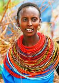 AFRICA,KENYA,SUMBURU,NOVEMBER 8: Portrait of Sumburu  woman wearing traditional handmade accessories,  review of daily life of local people, near Sumburu Park National Reserve, November 8, 2008, Kenya