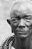 AFRICA, KENYA, SUMBURU - NOVEMBER 8: Portrait of the oldest lady in Sumburu tribe, review of daily l
