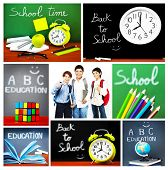 Back to school concept collage, collection of images related to education, colorful accessories and