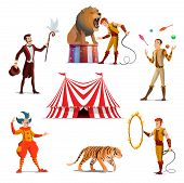Big Tent Of Circus With Lion And Trainer, Magician And Juggler, Tiger On Entertainment Show. Dangero poster